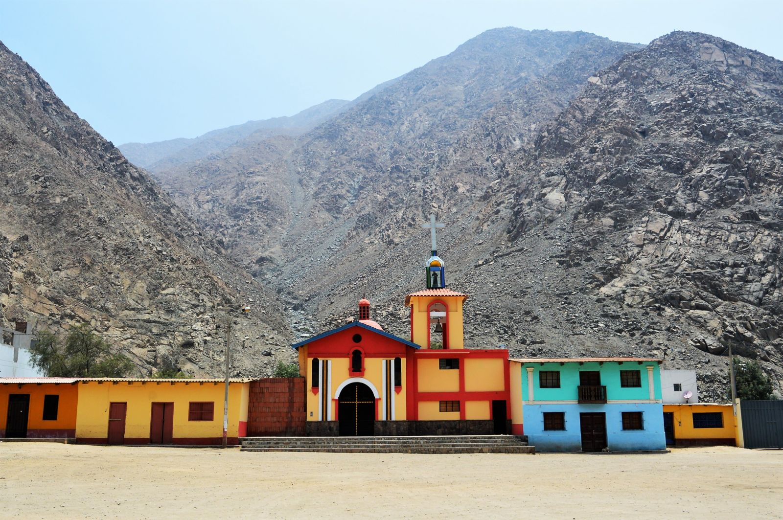Small colorful villages are shining in the grey desert